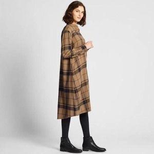 Uniqlo A-Line Tan Plaid Flannel Oversize Dress S